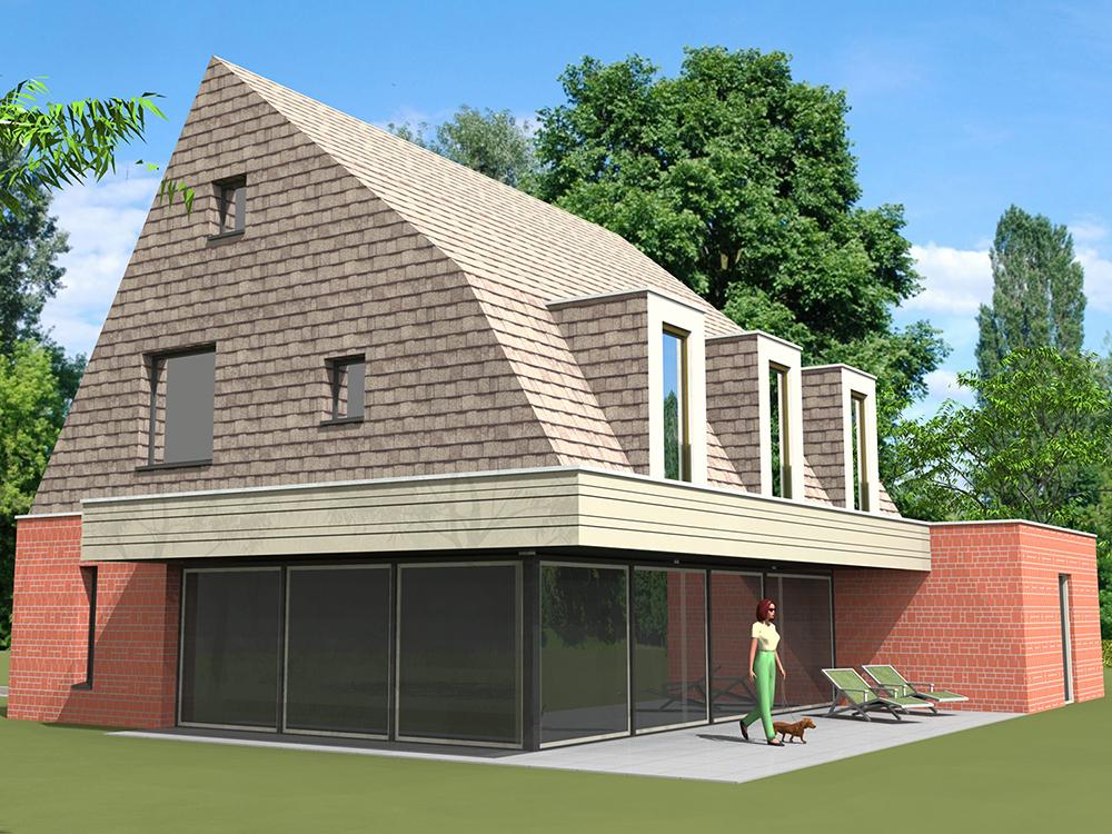 Passief huis 3d tekening achteraanzicht